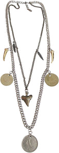 Ettika Coin Glam Mixed Metal Horn And Feather Double Row Necklace