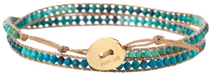 Chan Luu Chrysocolla Blue Mix of Semi Precious Stones Double Wrap Nylon Bracelet