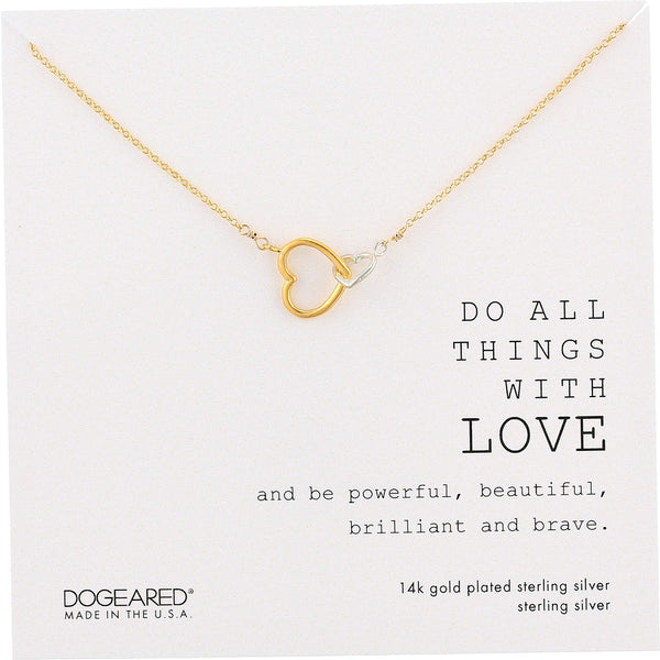 Dogeared Women's Do All The Things with Love Two Linked Hearts Necklace