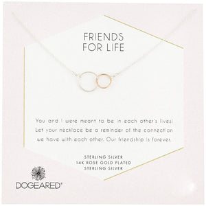 Dogeared Friends For Life Sterling Silver and Rose Gold Dipped Linked Rings Necklace