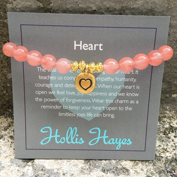 Hollis Hayes Cherry Quartz Heart Charm Beaded Bracelet