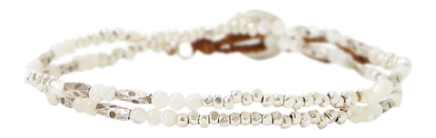 Chan Luu White Mother of Pearl And Etched Silver Double Wrap Bracelet