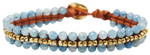 Chan Luu Single Wrap Bracelet with Gold Nuggets