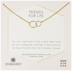 Dogeared Friends For Life Mixed Metal Linked Rings Necklace