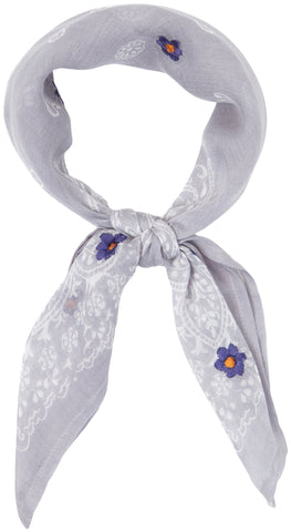 Chan Luu Paisley Garden Neckerchief Scarf with Daisy Embroidery