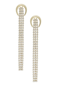 Ettika Long Gold Plated Crescent & Crystal Fringe Drop Earring
