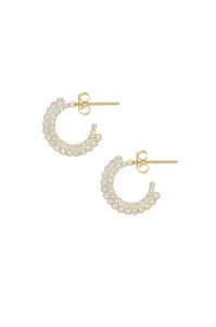 Ettika Gold Plated Forever Shine Crystal Mini Hoop Earrings