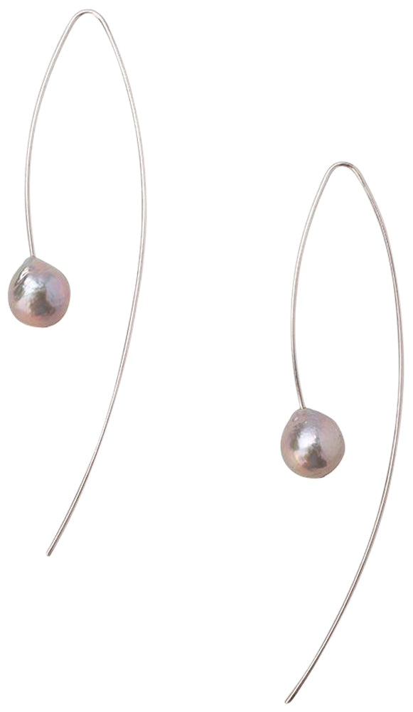 Chan Luu Grey Cultured Freshwater Pearl Sterling Silver Threader Wire Earrings