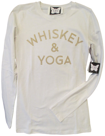S.P.I Couture Women's Whiskey & Yoga White Long Sleeve Tee Shirt