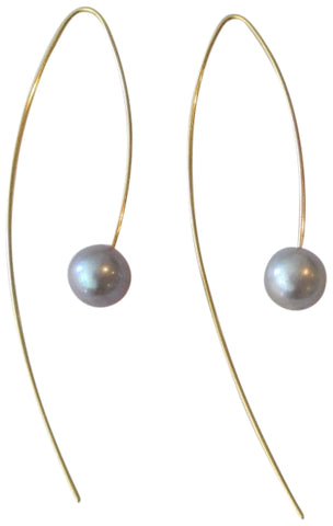 Chan Luu Grey Cultured Freshwater Pearl Gold Plated Threader Wire Earrings