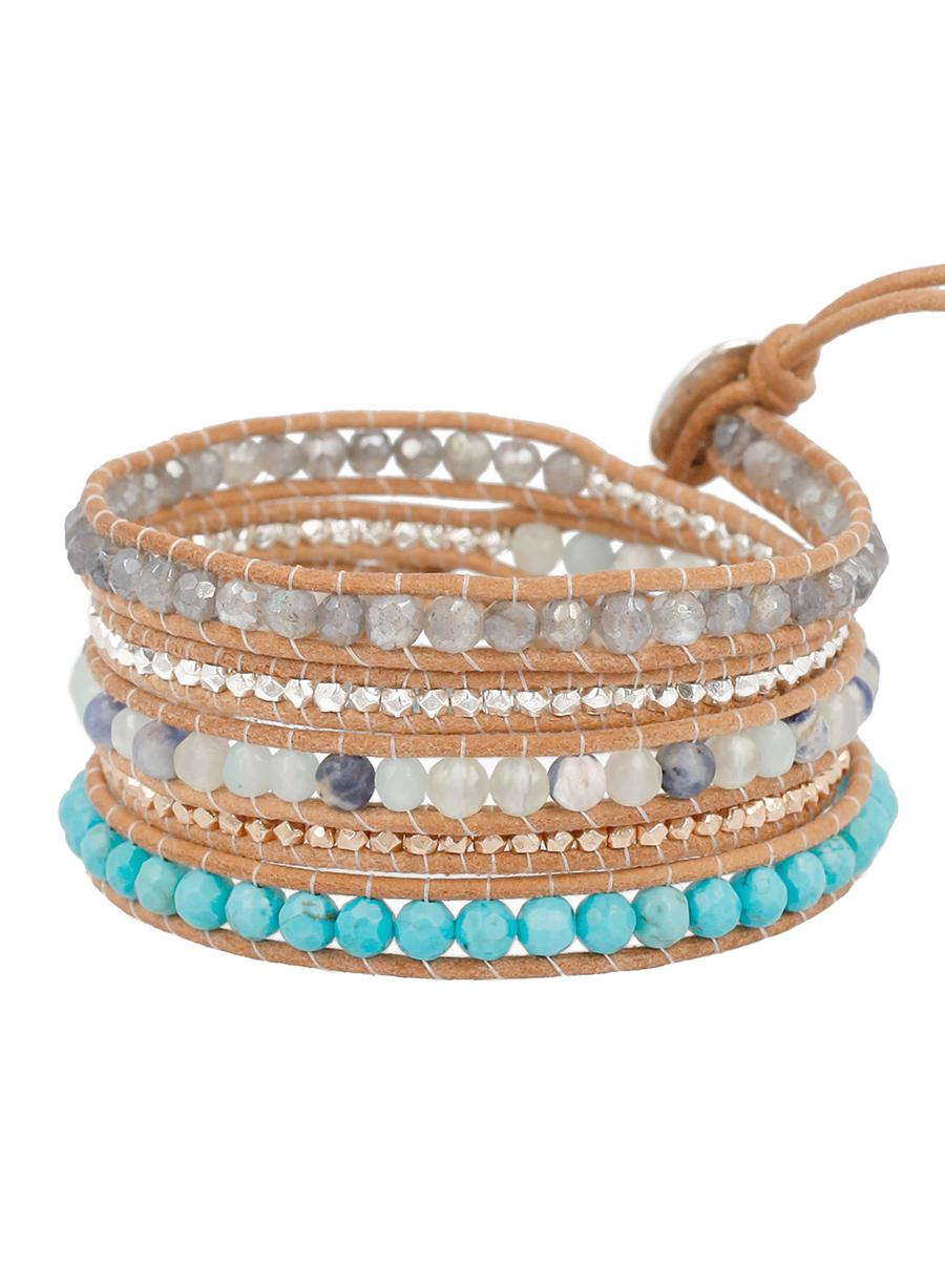 Chan Luu Semi Precious Amazonite and Turquoise Blue Mix On Tan Leather Wrap Bracelet