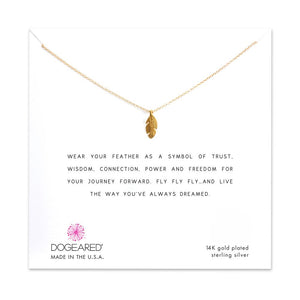 Dogeared Life is A Journey Feather Charm Necklace , Gold Dipped