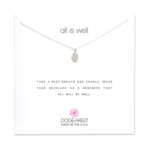 Dogeared Sterling Silver All Is Well Hamsa Necklace