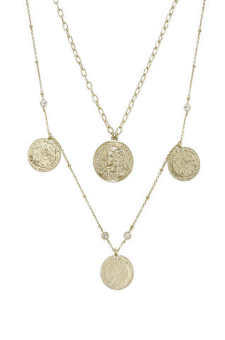 Ettika Elite Coin and Crystal Gold Plated Layered Pendant Necklace Set