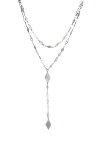 Ettika Rhodium Plated Augustine Layered Lariat Necklace