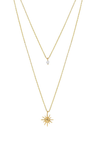 Ettika Gold Plated Layered Starburst & Crystal Necklace