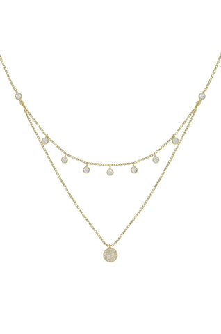 Ettika Gold Plated Double Layered Gold Chain & Crystal Disc Necklace