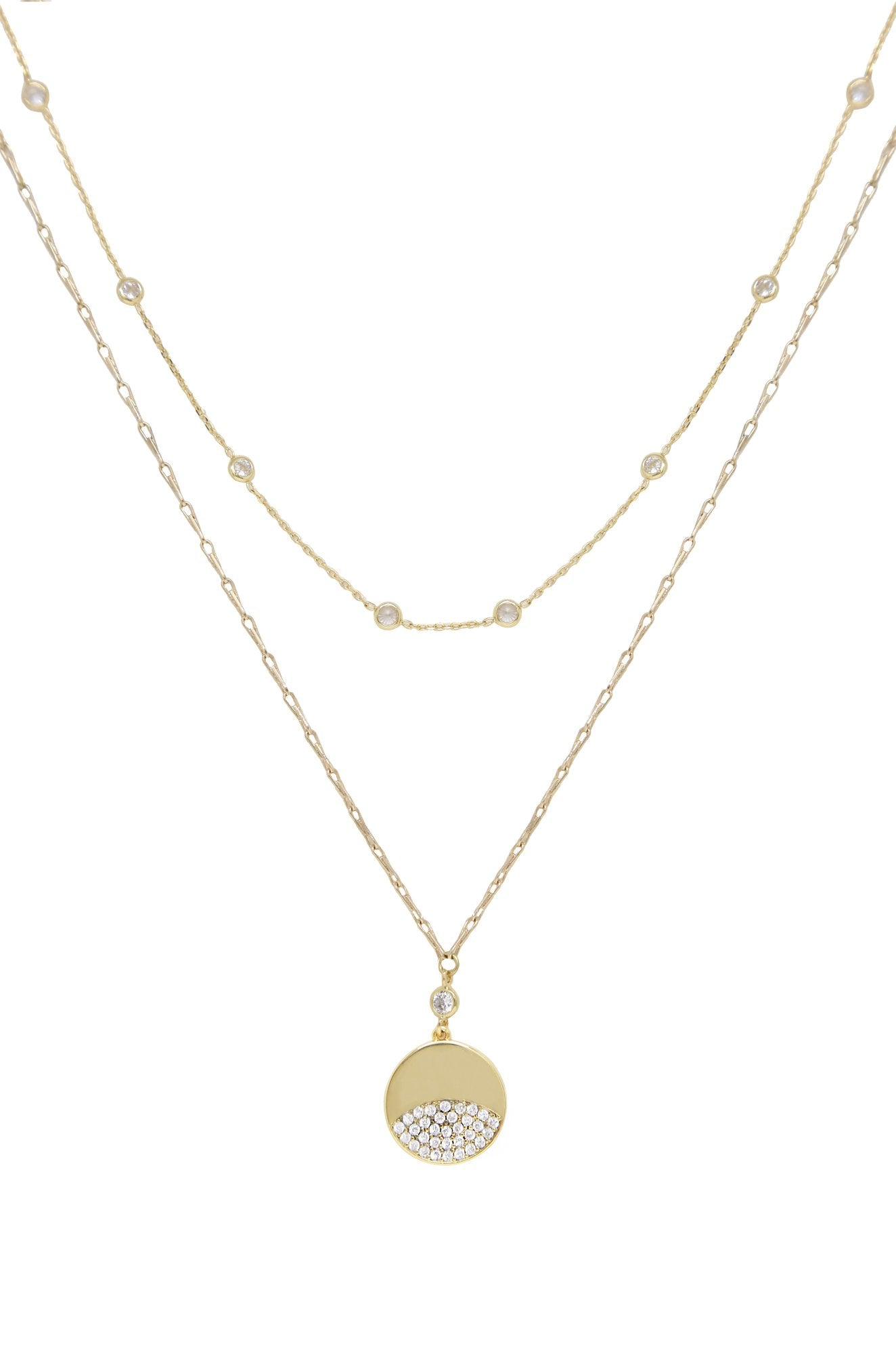 Ettika Crystal Dipped Layered Pendant Necklace Set of Two