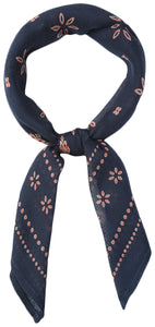 Chan Luu Dot and Flower Viscose Neckerchief Scarf , Total Eclipse/Nutmeg