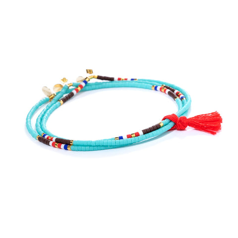 SHASHI The Gang Navajo Turquoise Set Of Three Stretch Bracelets