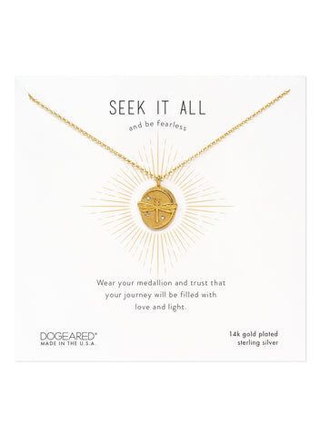 Dogeared Dragonfly Seek It All Gold Dipped Disc Necklace