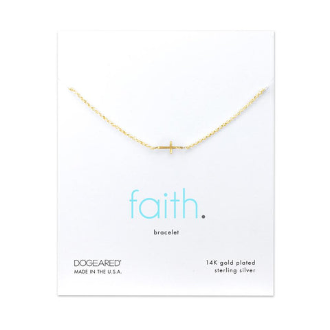 Dogeared Faith Cross Charm Bracelet , Gold Dipped
