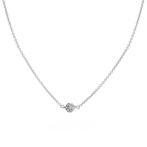 Dogeared Wishing Necklace, Pave Sparkle Ball Necklace , Silver Plated