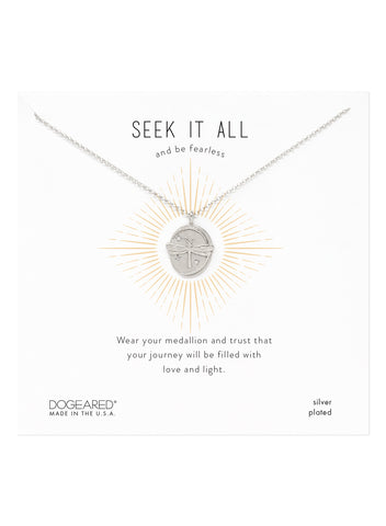 Dogeared Dragonfly Seek It All Sterling Silver Disc Necklace