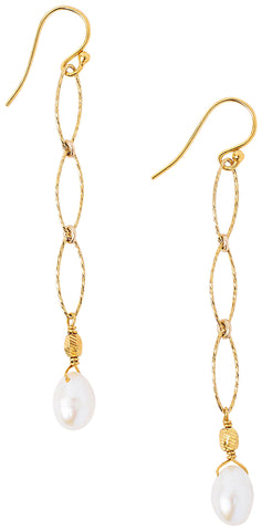 Chan Luu Gold Chain Link Pearl Drop Earrings
