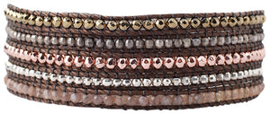 Chan Luu Rose Gold Plated Mix of Semi Precious Stones, Beads Five Wrap Bracelet