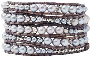 Chan Luu Graduated Grey Freshwater Cultured Pearl Wrap Bracelet