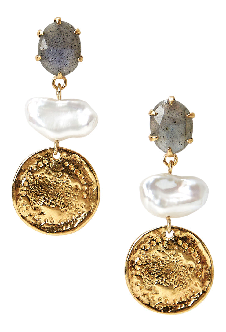 Chan Luu Gold Plated Modern Mix Labradorite and White Pearl Drop Earrings