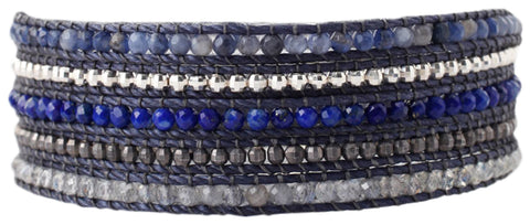 Chan Luu Blue Mix of Semi Precious Stones, Beads Five Wrap Nylon Cord Bracelet