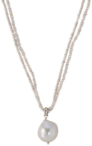 Chan Luu Grey Baroque Pearl Pendant Necklace