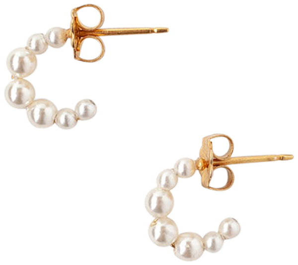 Chan Luu Small Petite Crystal Pearl Hoop Earrings