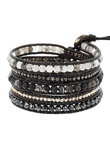 Chan Luu Matte Black Sardonyx Mix Wrap Leather Bracelet
