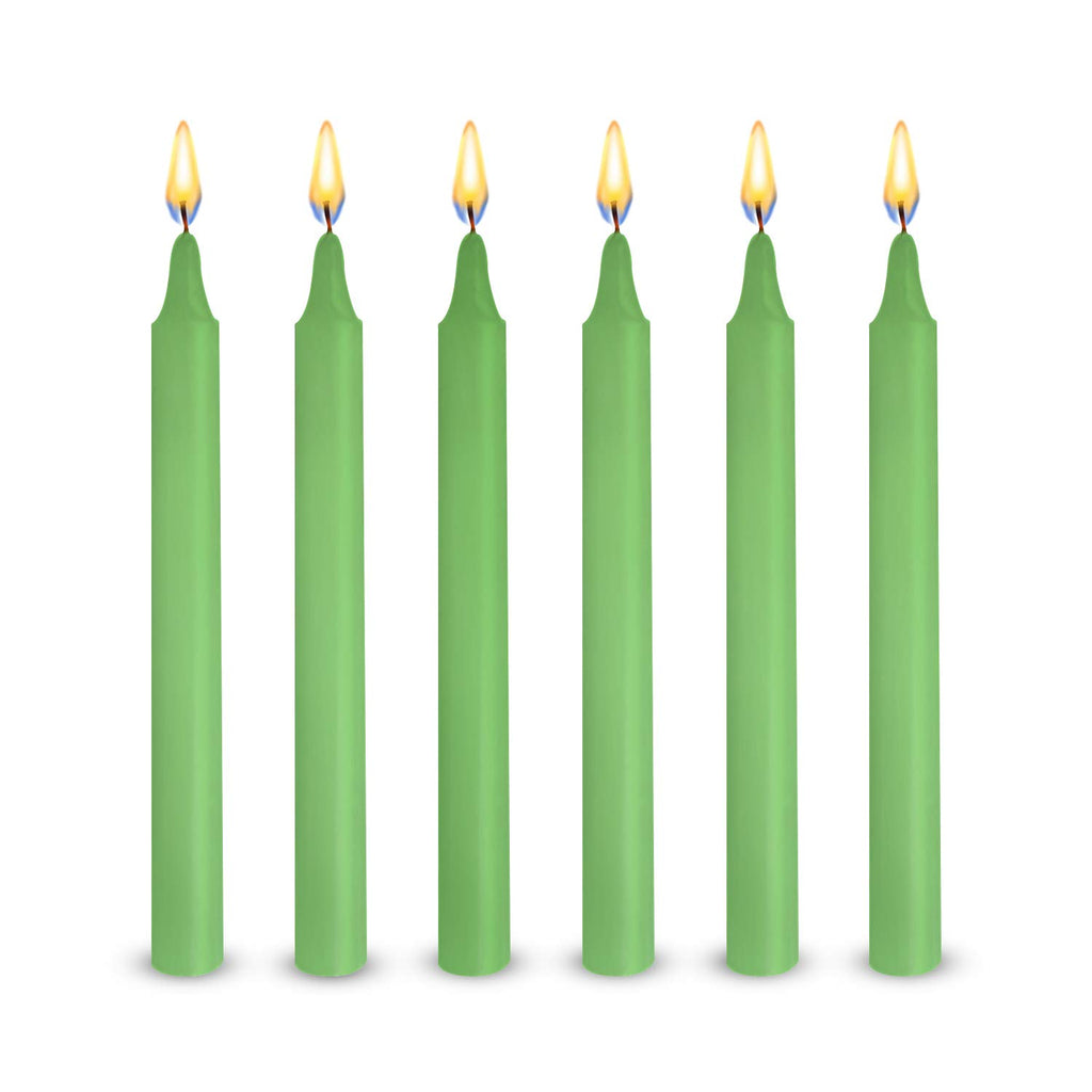 "48 Green Colored Spell Candles, Unscented 5"" H X 1/2"" D, No Smoke for Spell, Chime, Birthdays, Parties, Hanukkah, Wicca Wiccan Supplies and Christmas"