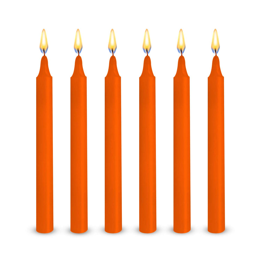 "48 Orange Colored Spell Candles, Unscented 5"" H X 1/2"" D, No Smoke for Spell, Chime, Birthdays, Parties, Hanukkah, Wicca Wiccan Supplies and Christmas"
