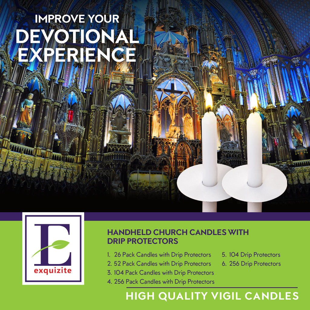 26 Church Candles with Drip Protectors
