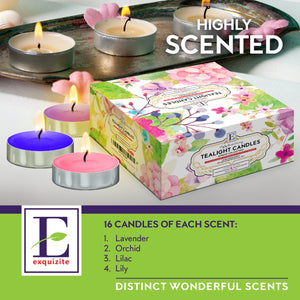 Spring Scented Tealights - 64 pcs - Set of 16 with 4 Fragrances - Lavender, Orchid, Lilac and Lily