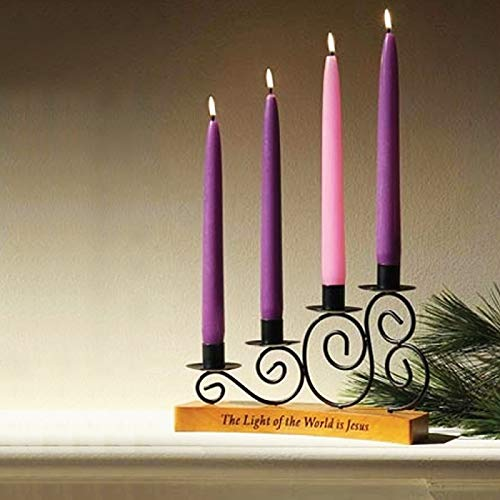 Advent Candles Set of 4-4 Pack - 3 Purple, 1 Pink, 10 inch - Premium Hand Dipped Taper Candles