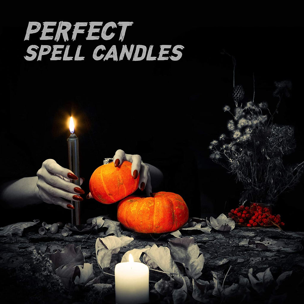 "24 Black Colored Spell Candles, Unscented 5"" H X 1/2"" D, No Smoke for Spell, Chime, Birthdays, Parties, Hanukkah, Wicca Wiccan Supplies and Christmas"