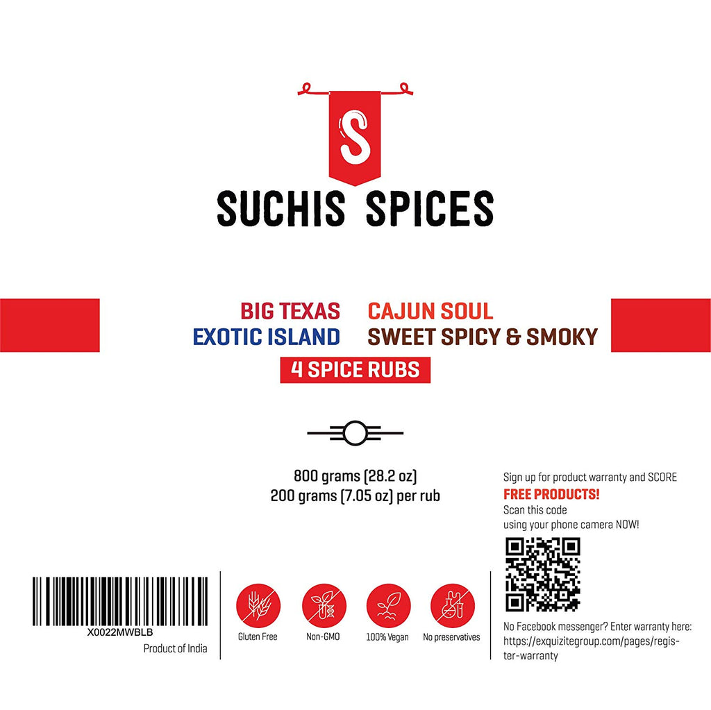 Suchi's Spices BBQ Rubs and Spices Combo Gift Set 4 Pack - 1. Big Texas Spice Rub, 2. Cajun Soul Spice Rub, 3. Sweet, Spicy and Smoky Rub and 4. Exotic Island Spice Rub for Grilling, Cooking, Smoking