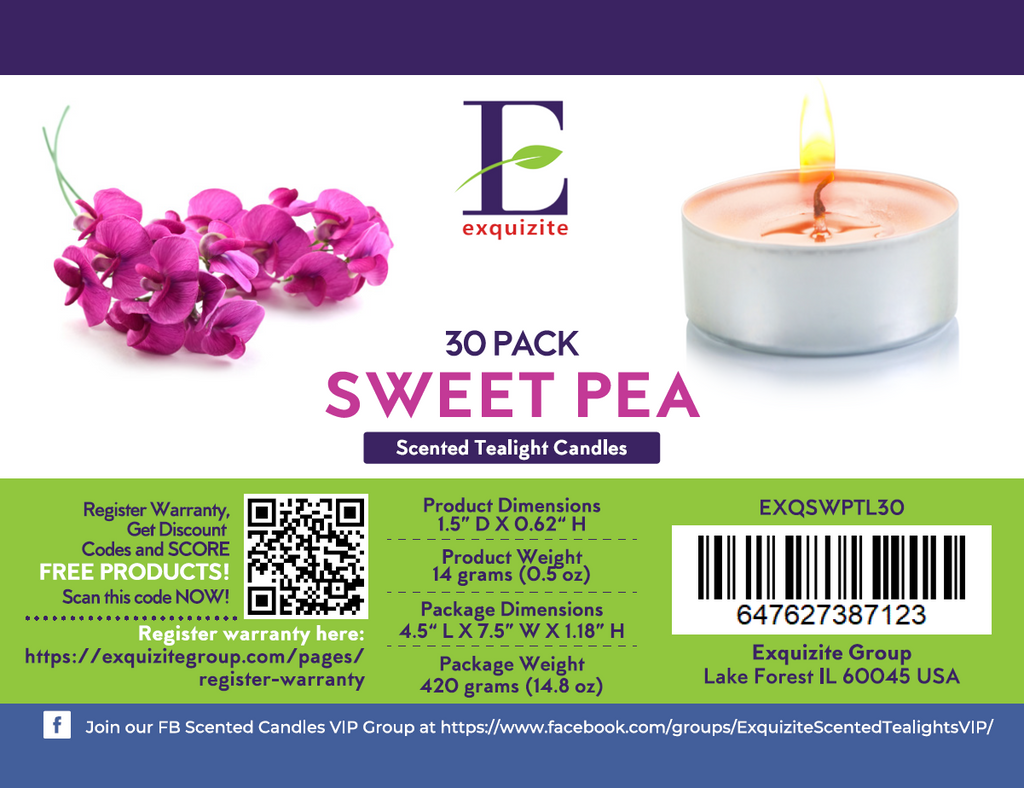 Sweet Pea Scented Tealights Candles - 30 Pack