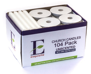 104 Church Candles with Drip Protectors