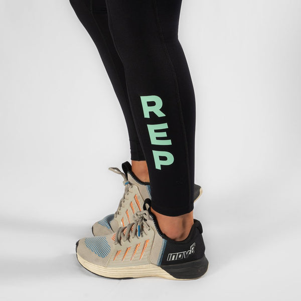 Nuluxe HVY REP Black / Neo Mint Leggings-Heavy Rep Gear-The WOD Guys