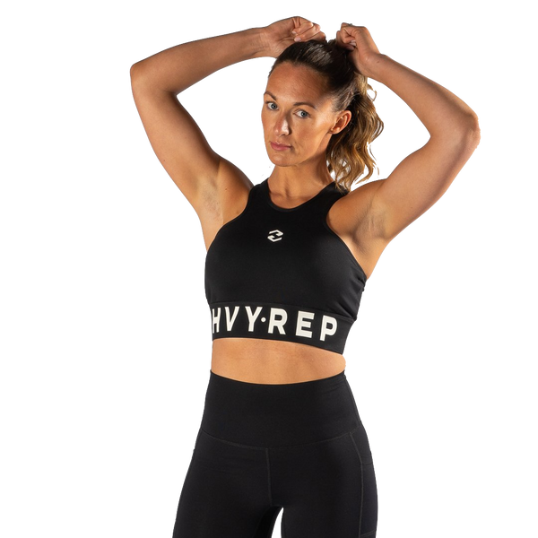 High Riser HVY REP Black / White Sports Bra-Bras-The WOD Guys
