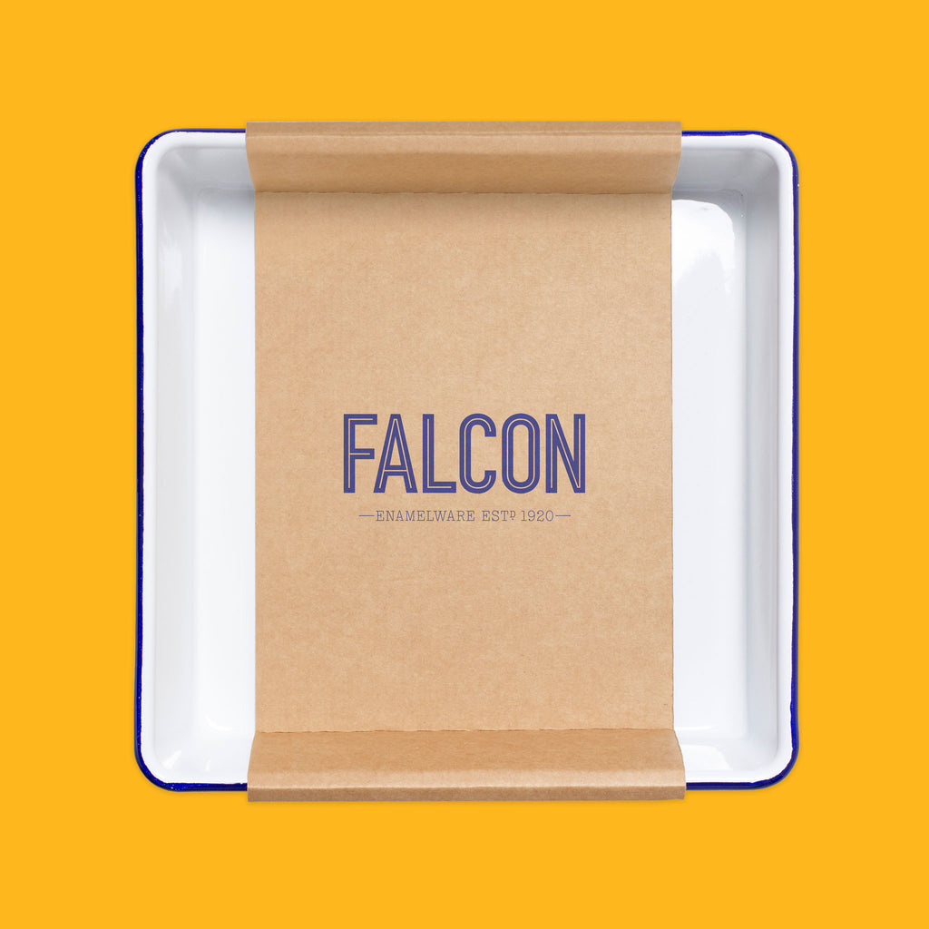 Falcon enamelware bake tray in white with blue rim