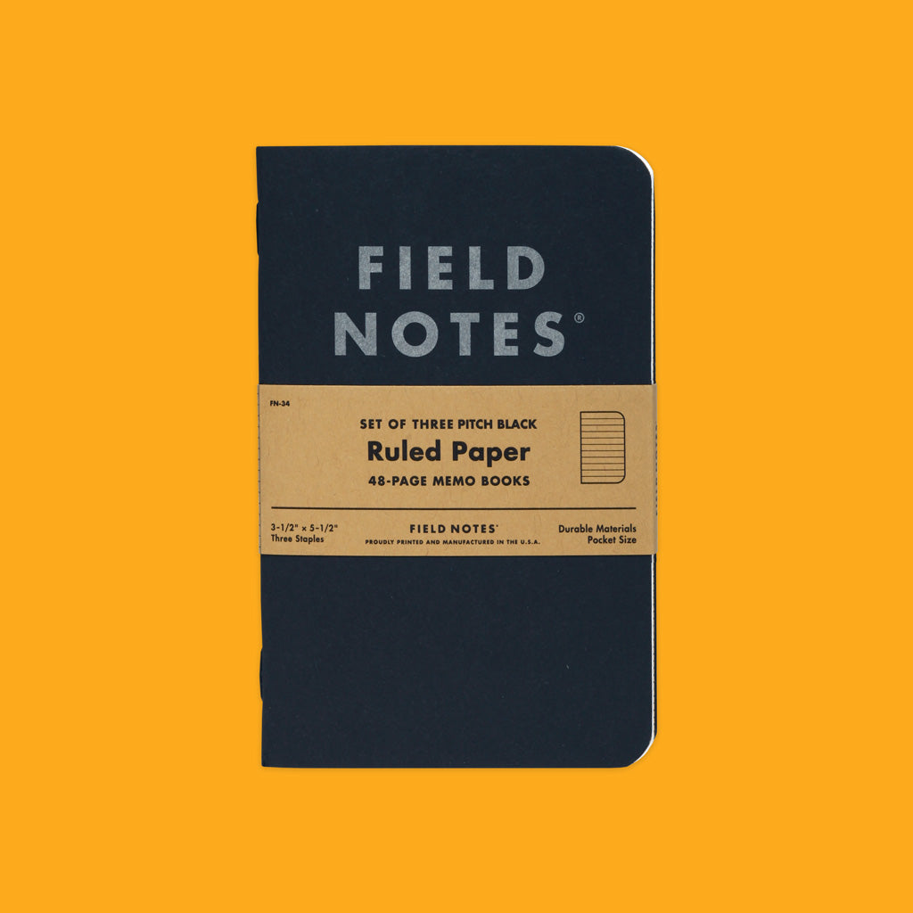 Field Notes Pitch Black Memo Book Ruled Front on
