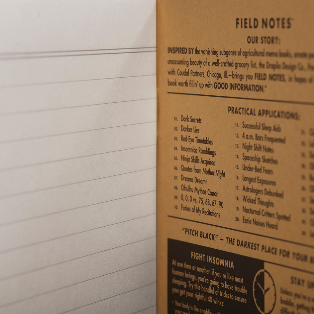 Field Notes Pitch Black Notebook Ruled Back page inside